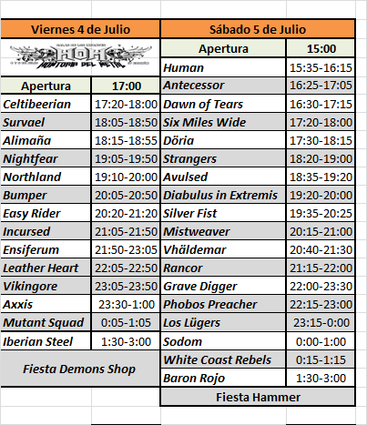 Horarios pases