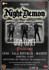Gira Night Demon: cambio de sala en Madrid